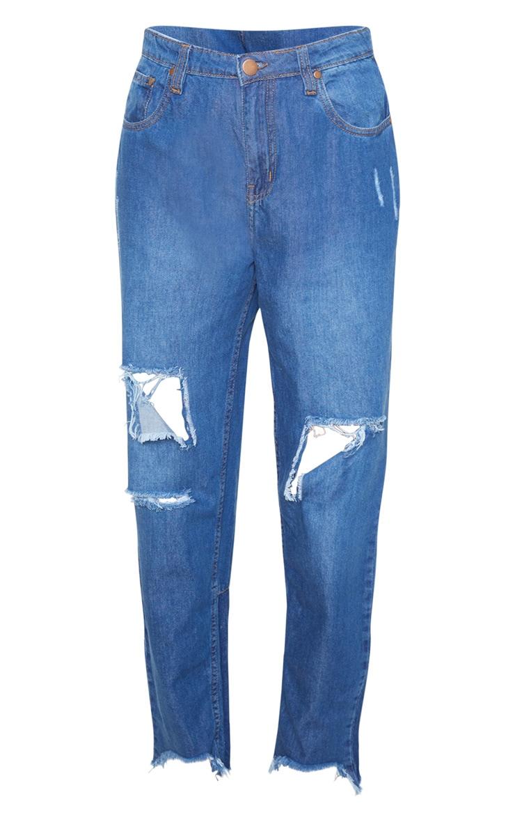 Tall - Jean bleu moyennement délavé déchiré à ourlet élimé 3