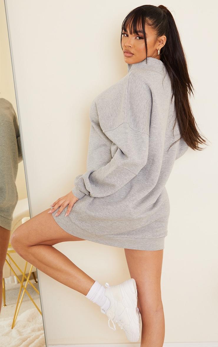 Grey Double Collar Zip Up Oversized Sweat Jumper Dress 2
