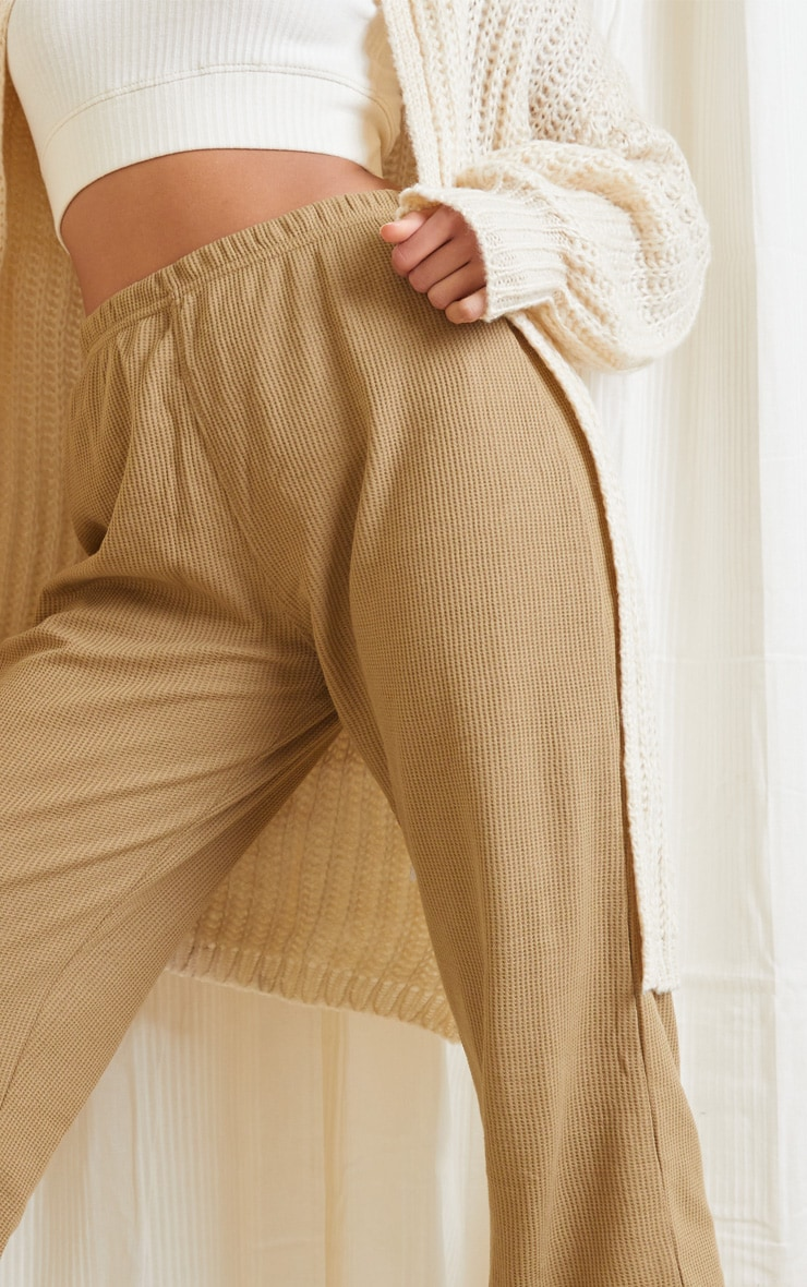Camel Waffle Textured Casual Joggers 4