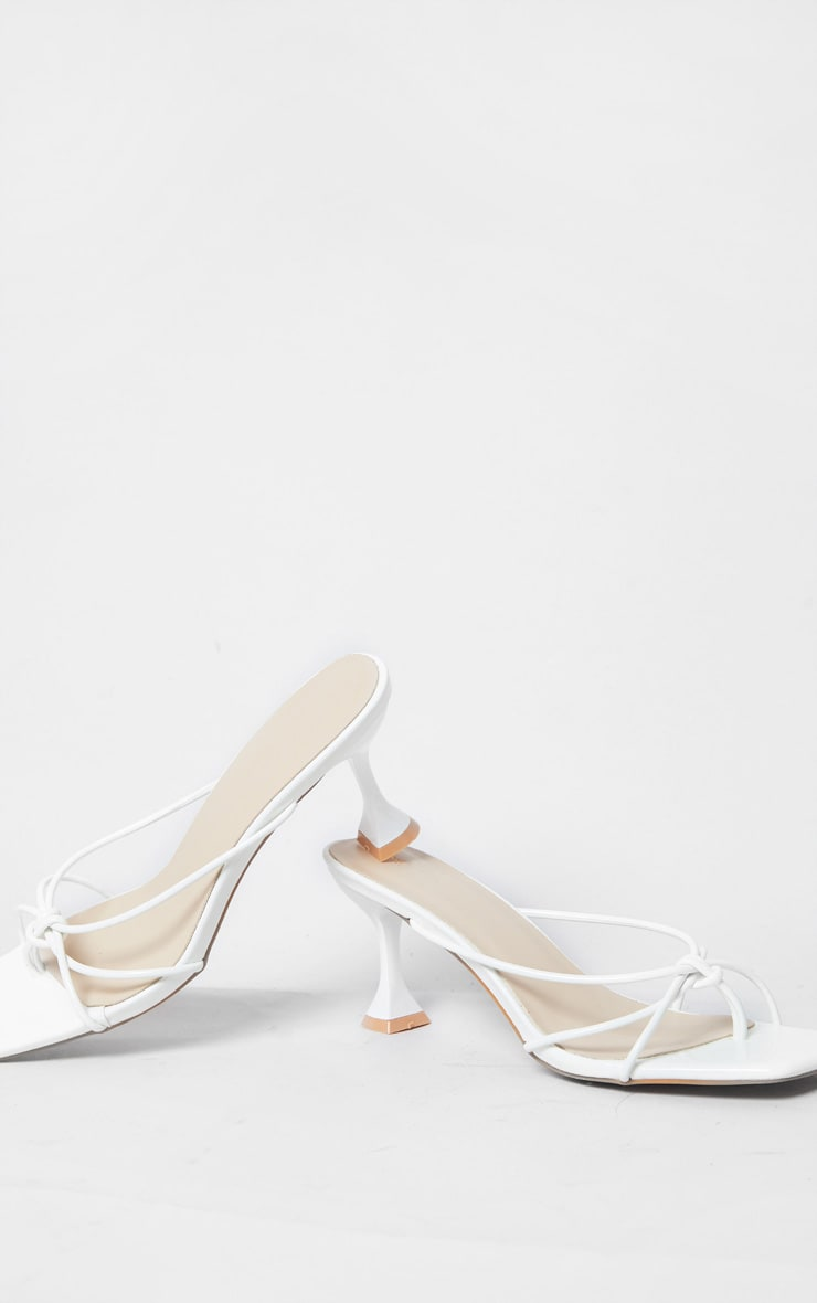 White Knot Toe Thong Low Heel Cake Stand Mules 4