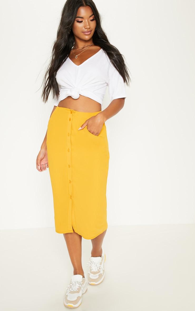 Mustard Button Front Midi Skirt