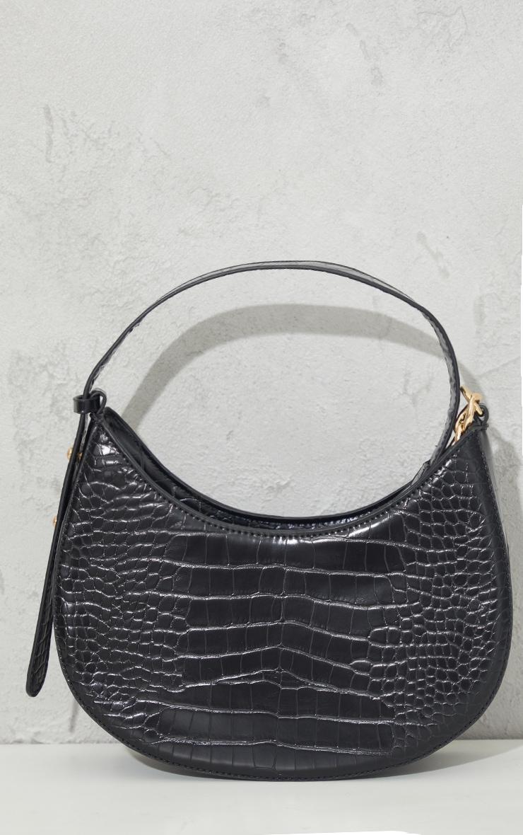 Black Croc Crescent Mixed Chain Strap Shoulder Bag 1