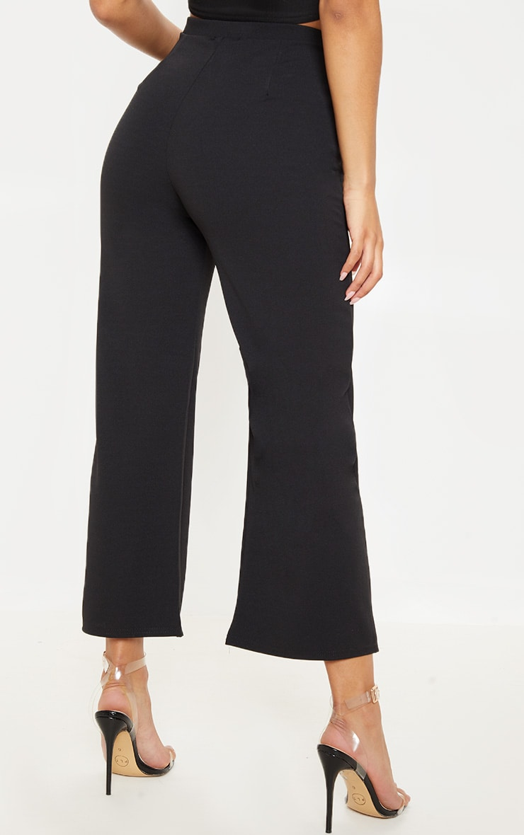 Black Cropped Wideleg Trousers 4