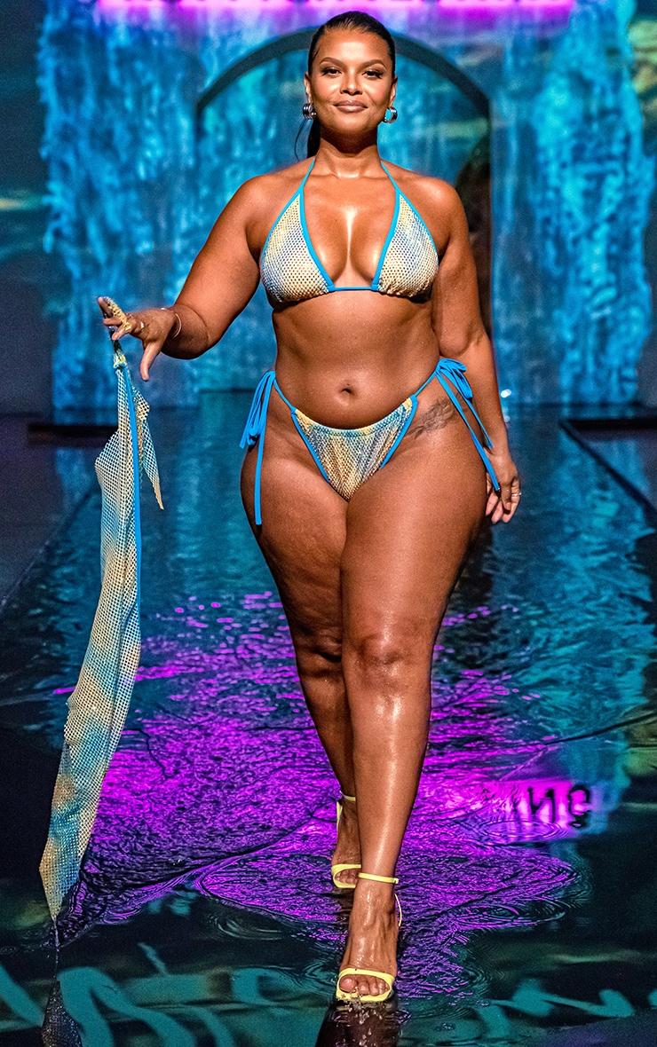Plus Turquoise Diamante Triangle Bikini Top 3