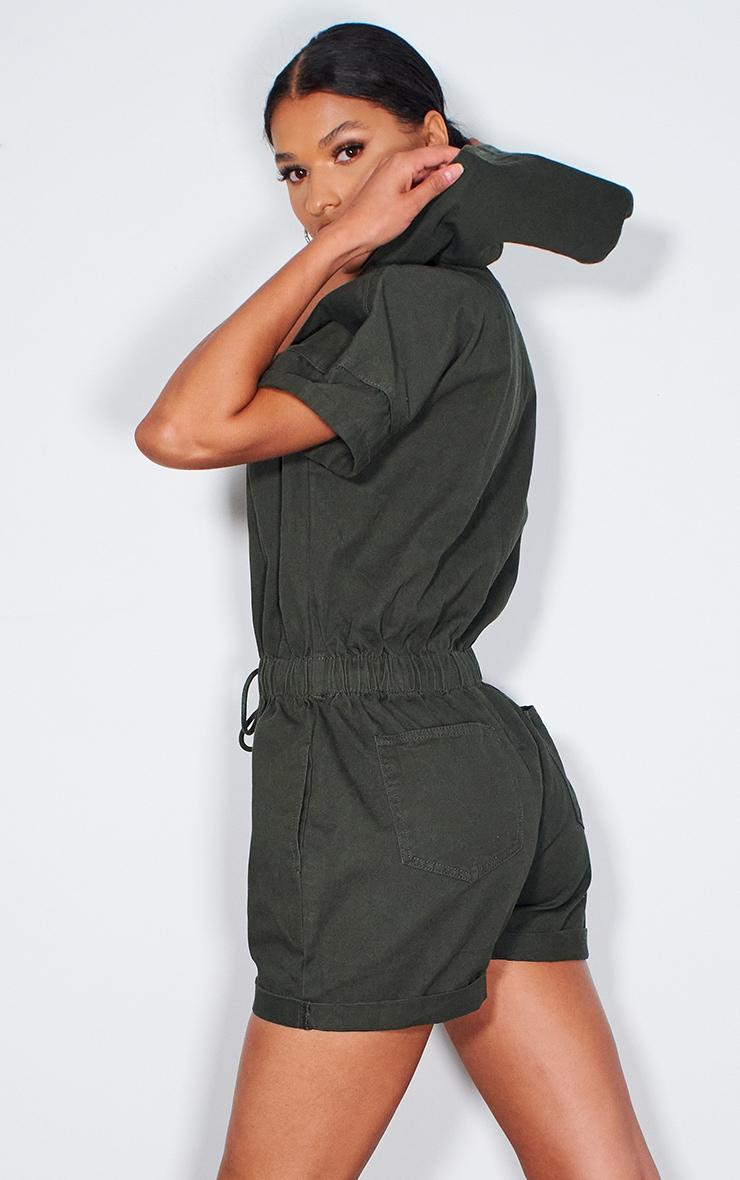 Khaki Hooded Zip Up Denim Romper 2
