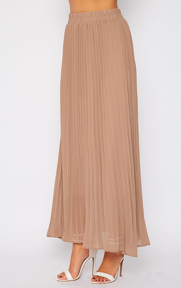 Serena Mocha Pleated Maxi Skirt 5