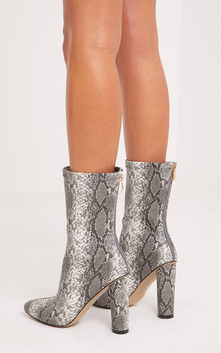 Mikayla Faux Snake Skin Sock Boots 4