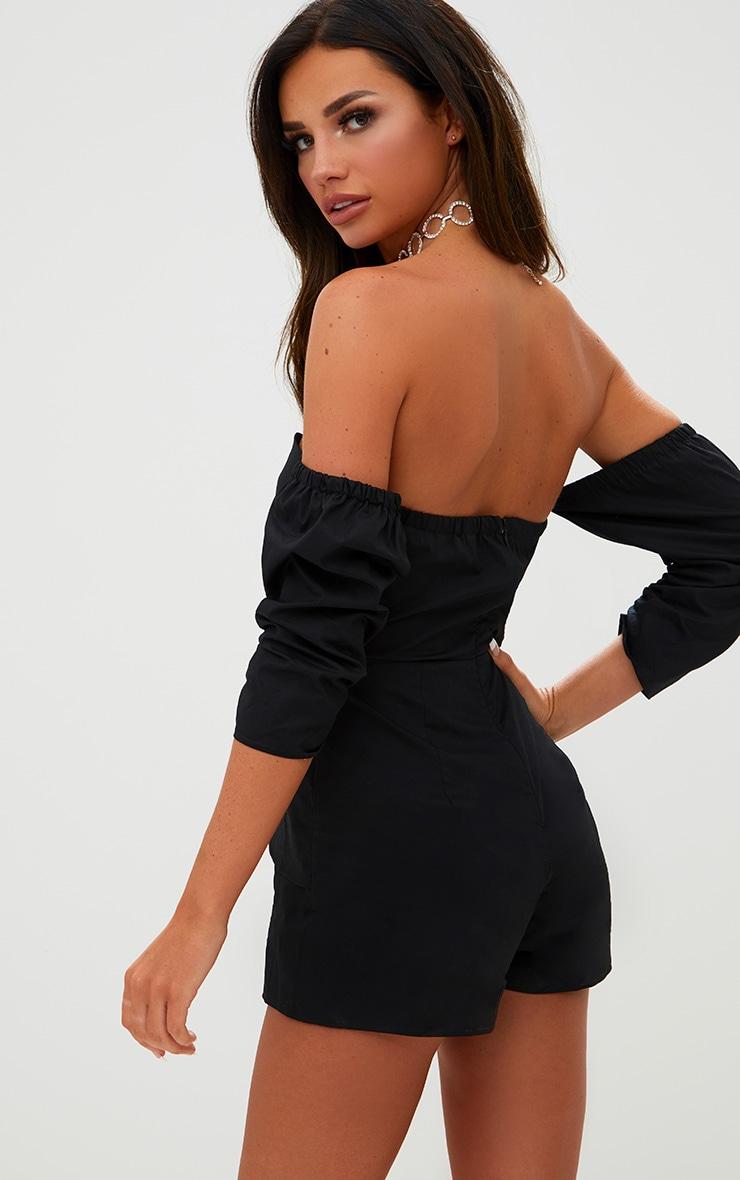 Black Bandeau Cross Front Skirt Playsuit 2