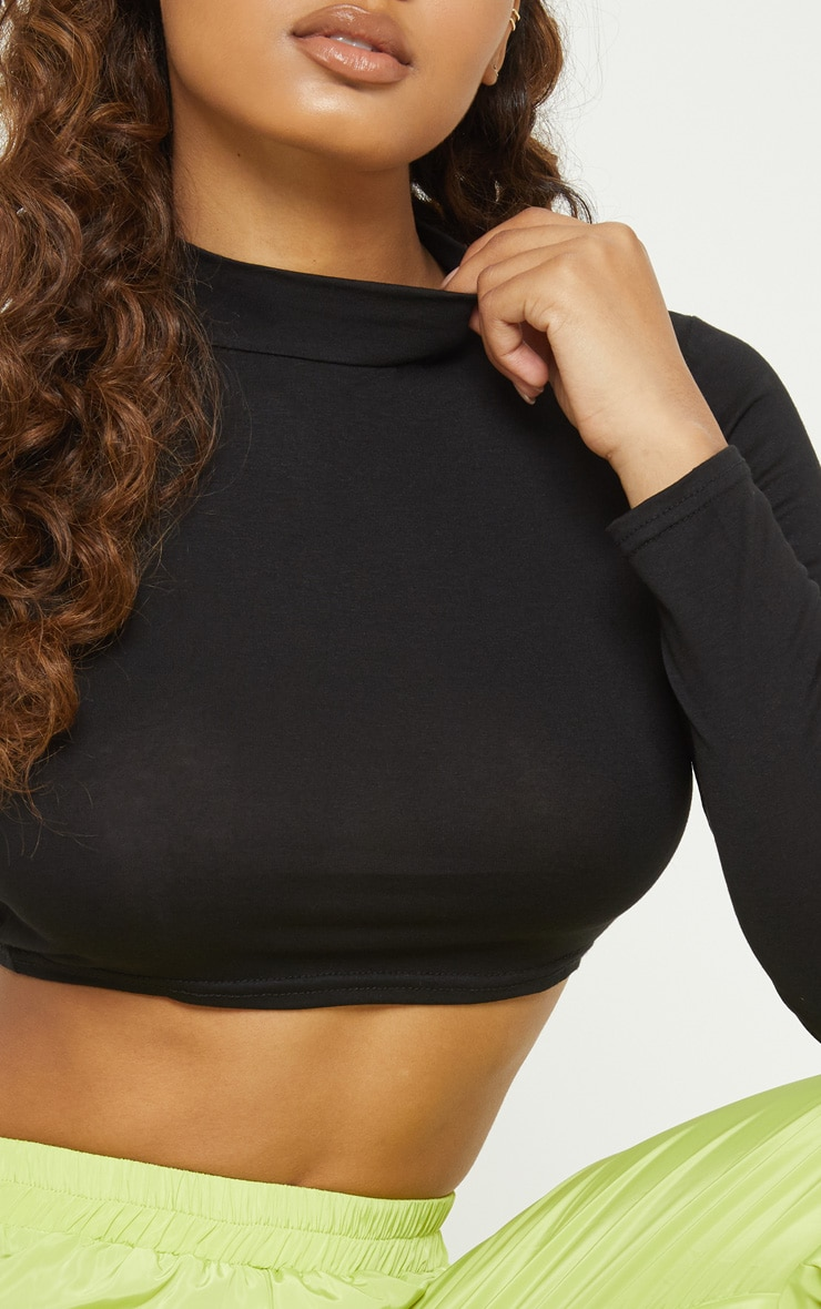 Tall Black  Long Sleeved High Neck Crop Top  5