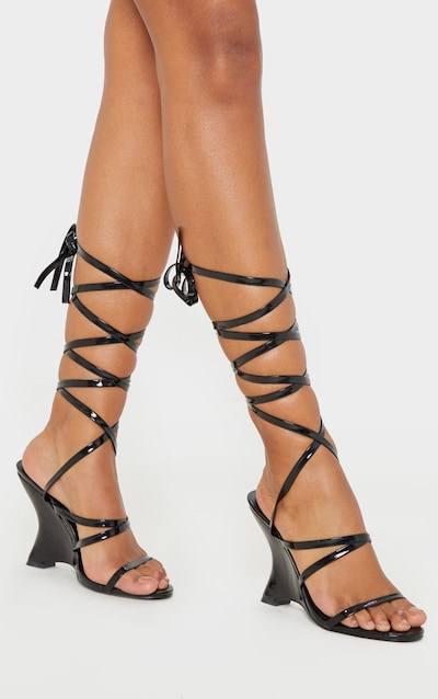 Black Strappy Ankle Tie Up Wedge Sandal