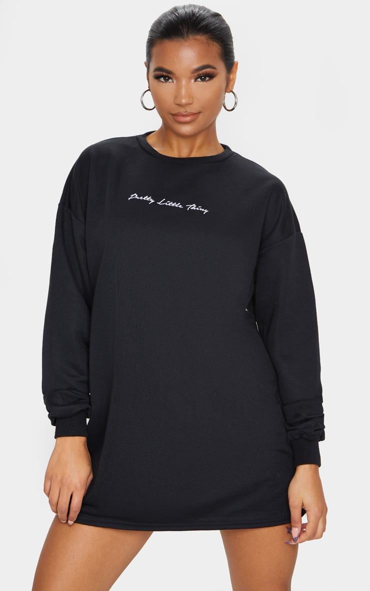 PRETTYLITTLETHING Black Embroidered Jumper Dress image 1