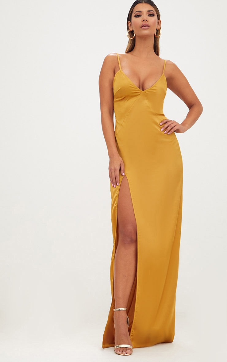 Mustard Satin Strappy Side Split Maxi Dress 1