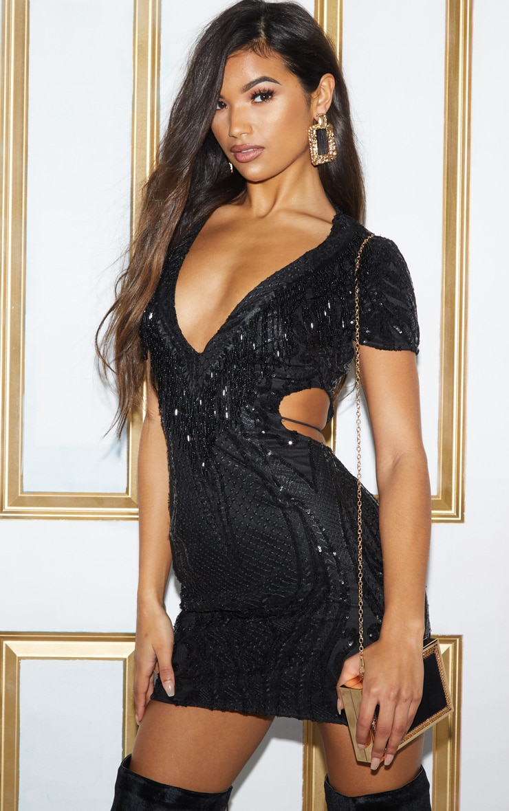 BLACK SEQUIN BEAD TASSEL BODYCON DRESS