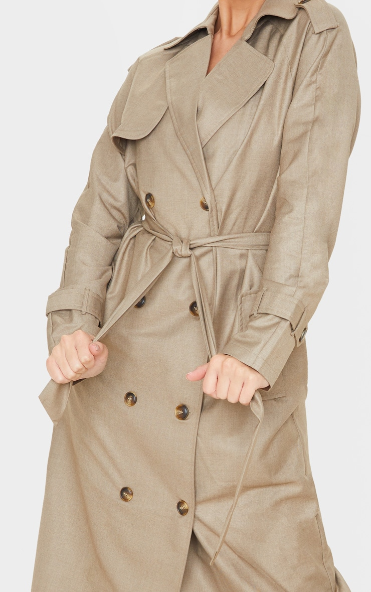 Stone Woven Oversized Trench Coat 6