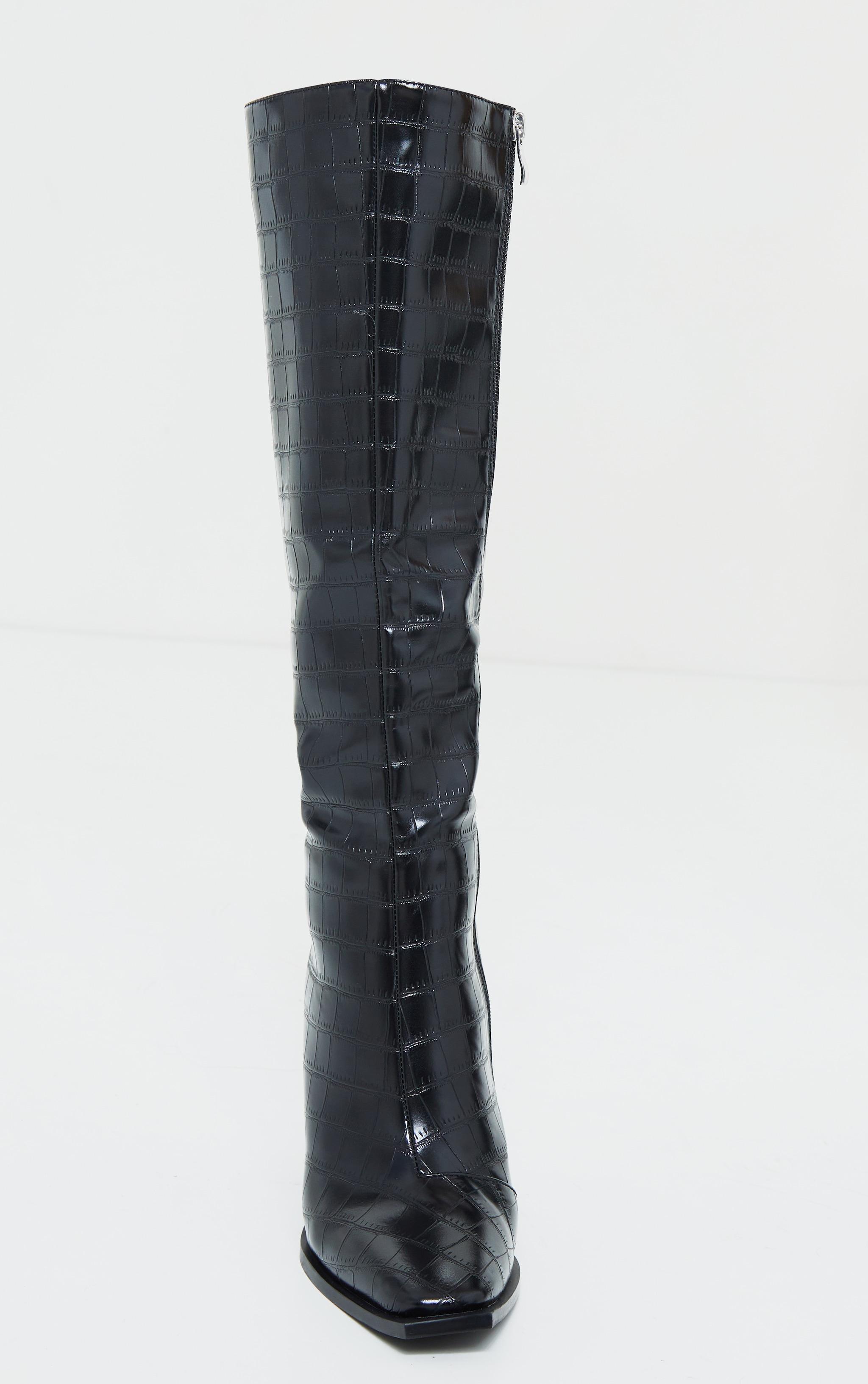 Black Croc High Block Heel Knee Boots 4