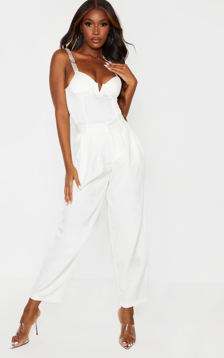 White Diamante Strap V Bar Bodysuit 5