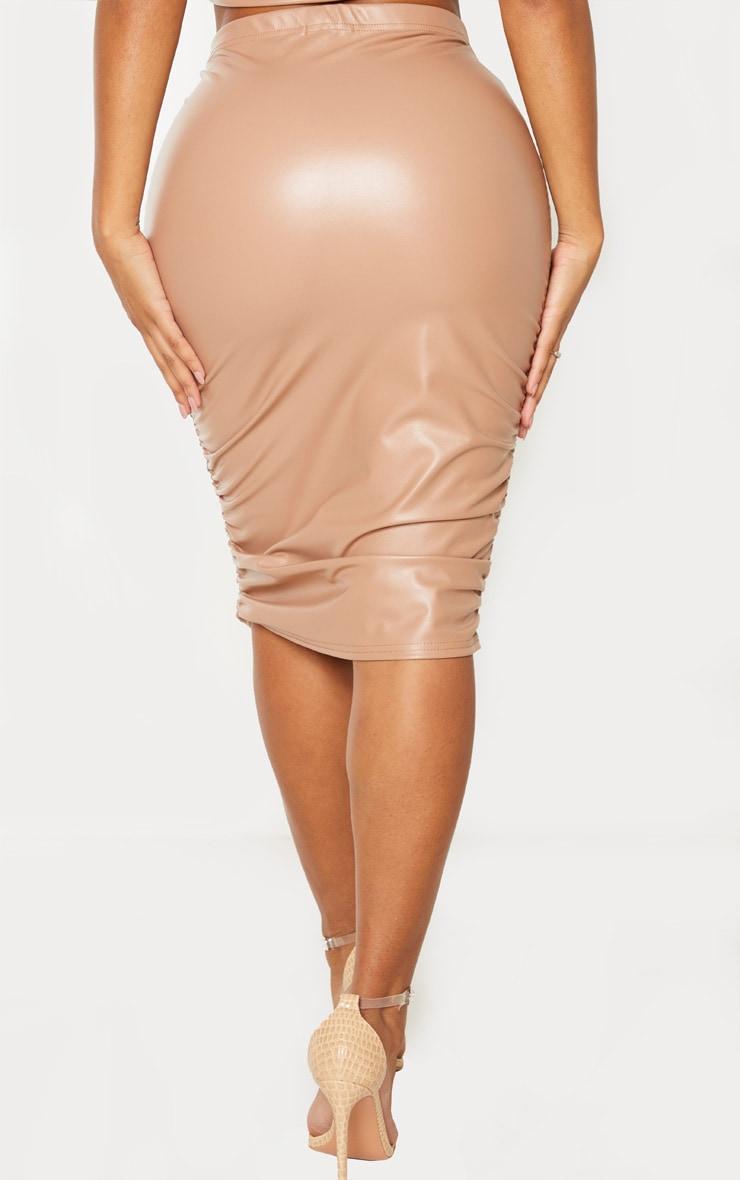 Shape Taupe PU Ruching Midi Skirt 4