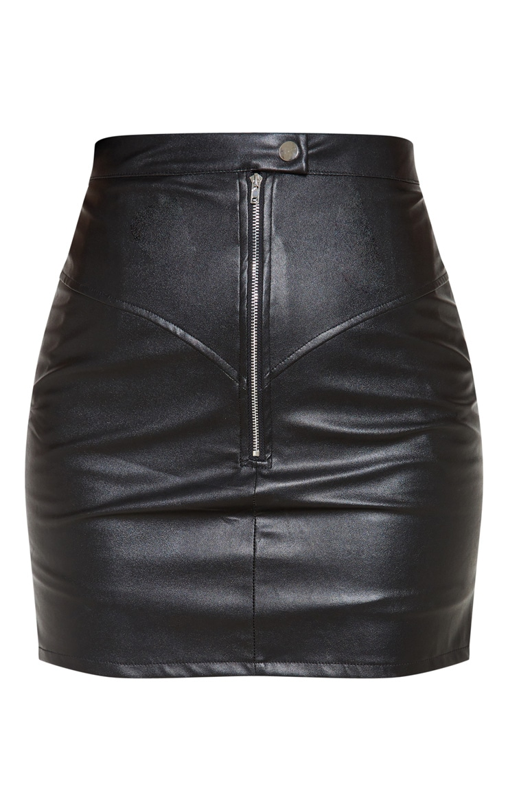 Petite Black Zip Detail Faux Leather Skirt 3