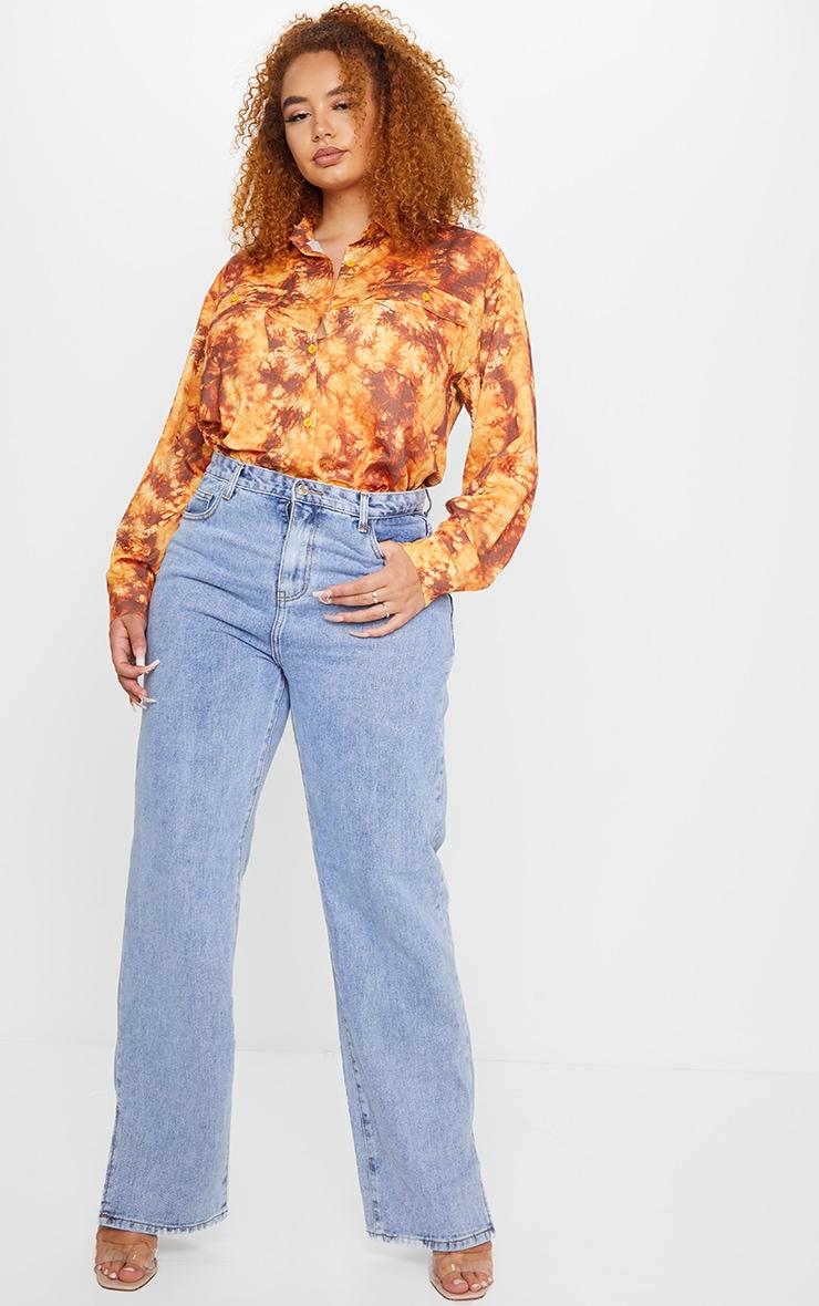 Plus Rust Tie Dye Oversized Shirt 3