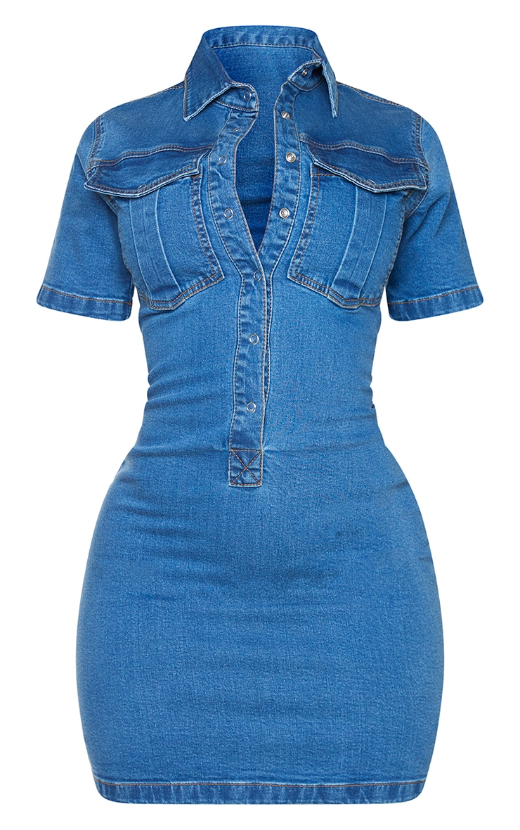 Shape Mid Blue Wash Button Detail Denim Shirt Dress 5