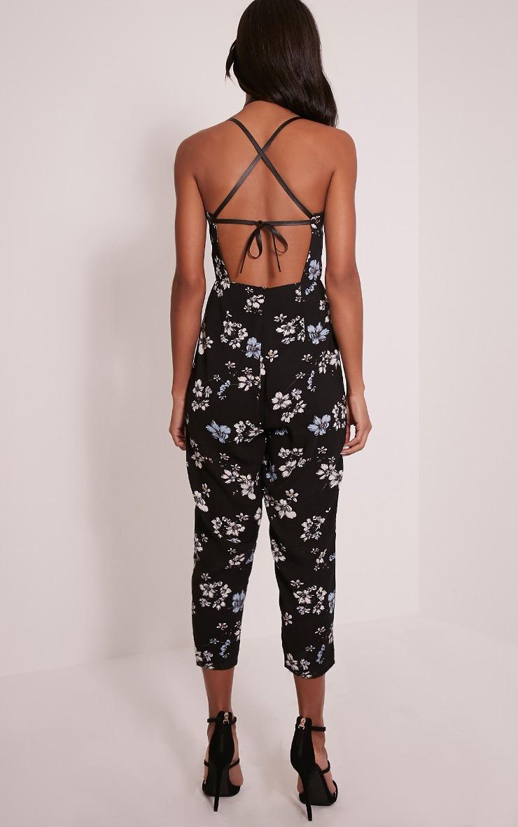 Bree Black Floral Print PU Strap Cropped Leg Jumpsuit 2