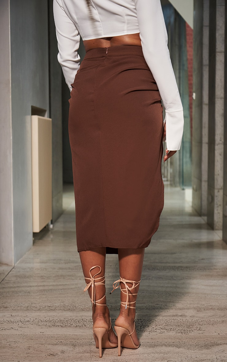 Chocolate Woven Ruched Detail Midi Skirt 3