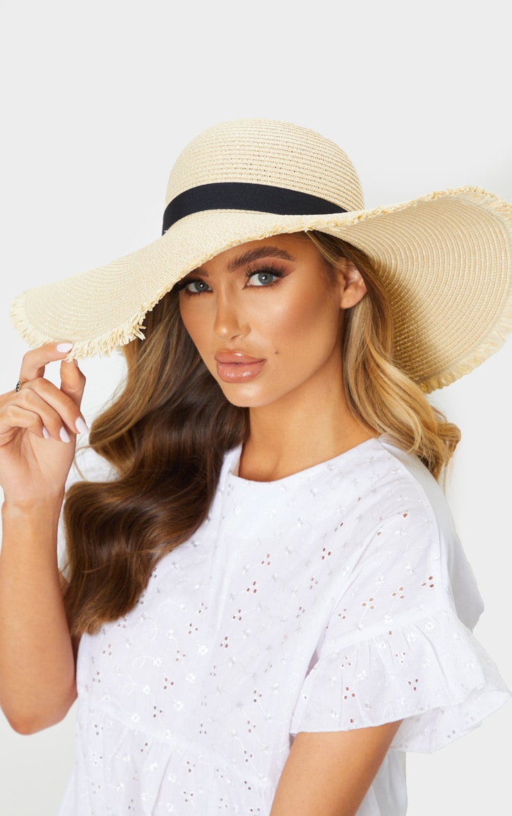 Natural Frayed Edge Wide Brimmed Boater Hat 1