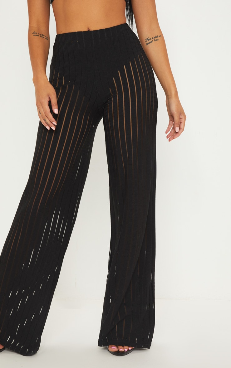 Petite Black Burn Out Mesh Wide Leg Trouser 2