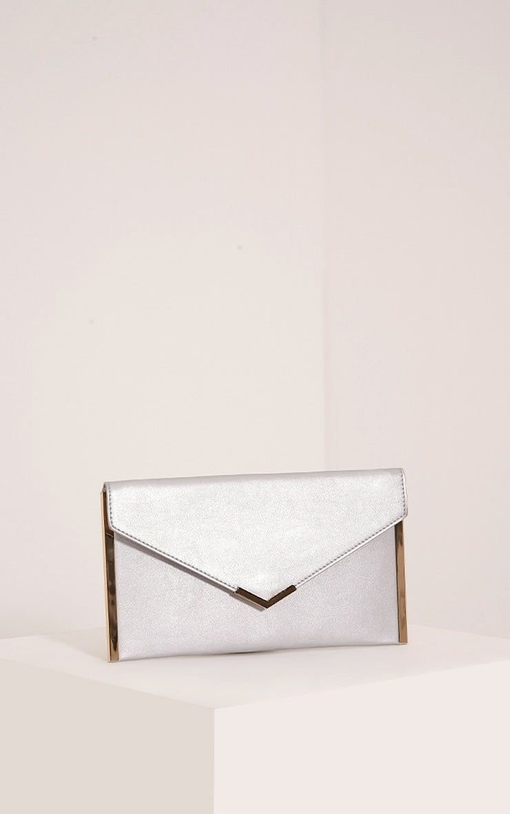 Kary Silver Metallic Clutch Bag 1
