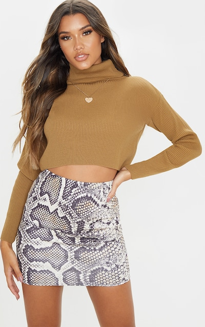 Grey Scuba Snake Print Mini Skirt