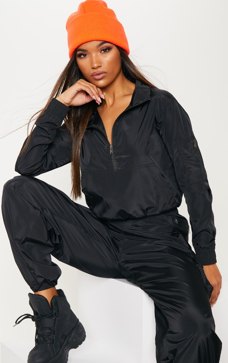 Black Shell Zip Up Tracksuit Top 1