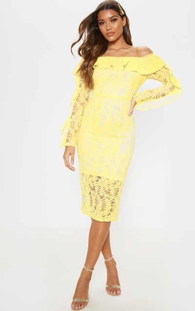 Lemon Bardot Lace Frill Sleeve Midi Dress