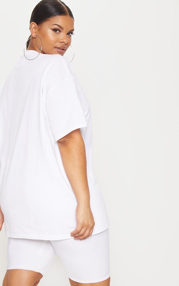 PRETTYLITTLETHING X Little Mix Plus White Oversized T-Shirt  2
