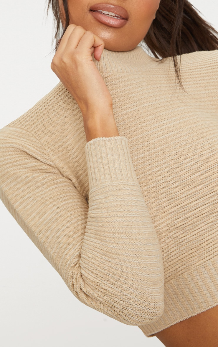 Stone Ribbed Cropped Knitted Sweater 5