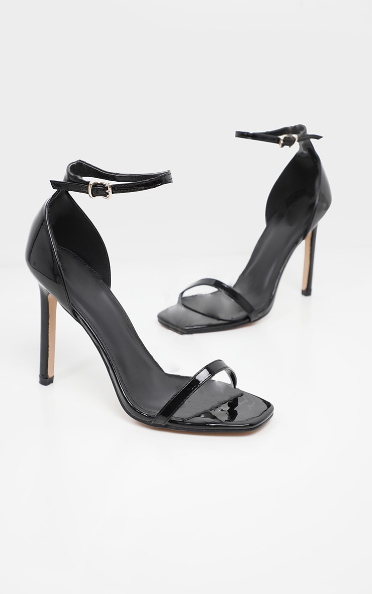 Black Patent Thin Strap Square Toe Strappy Sandal 3