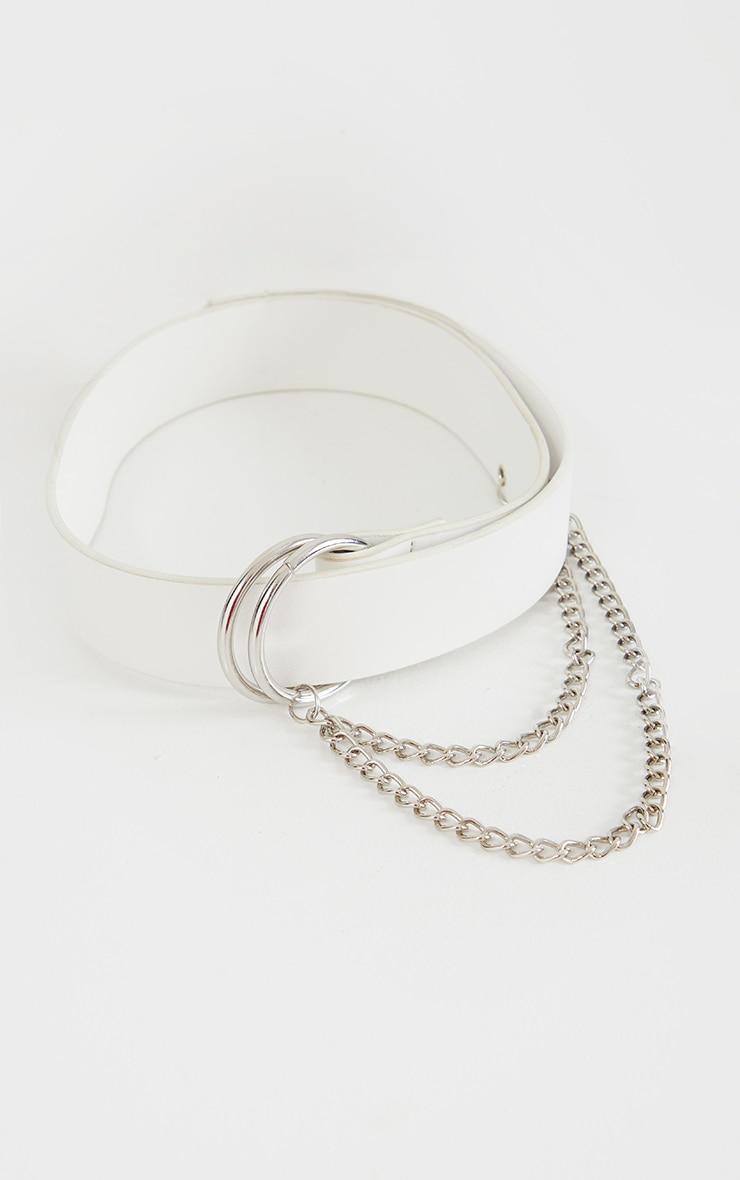 White PU D-Ring Taping Belt 1
