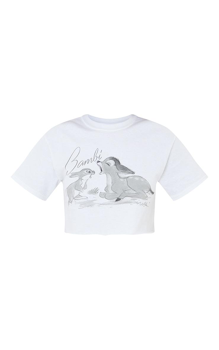 White Disney Bambi Sketch Print Crop T Shirt 5