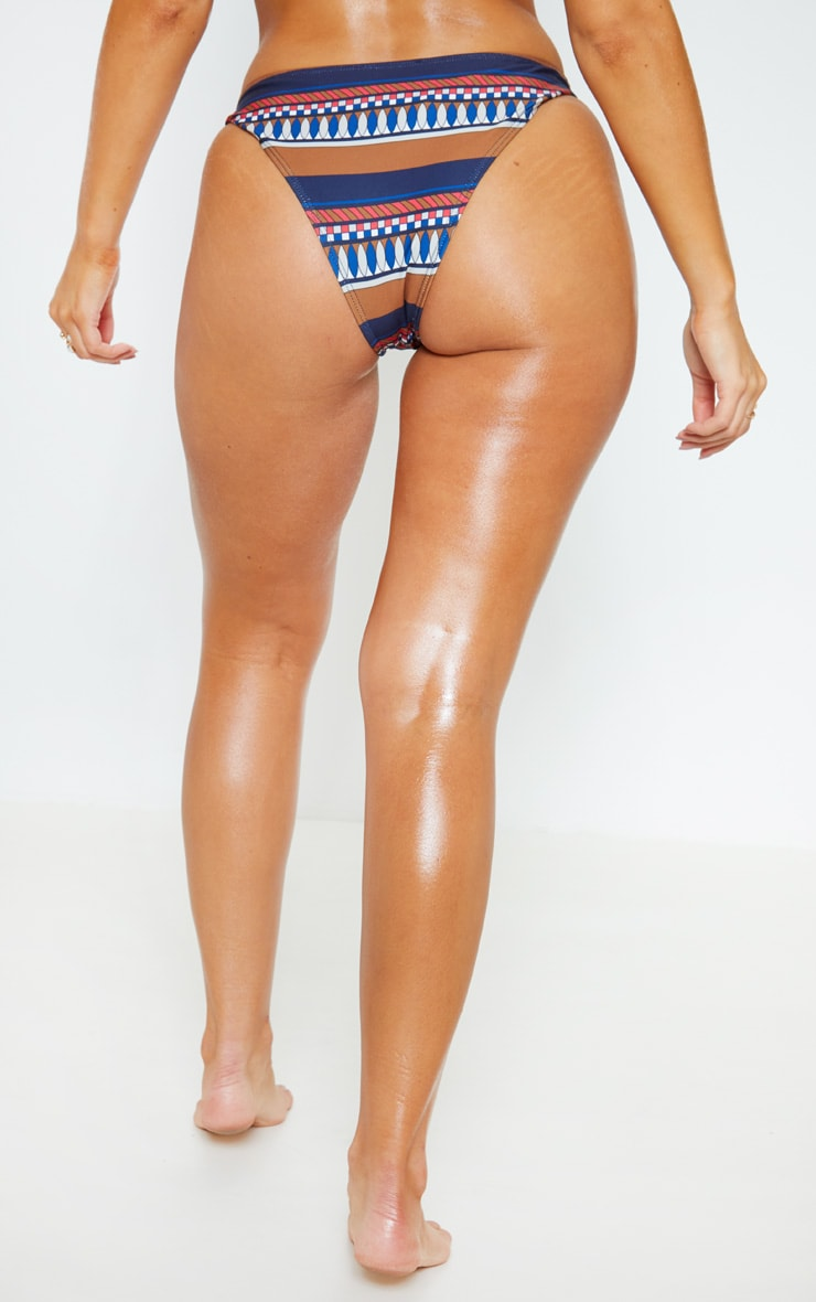 Brown Geo Stripe Print High Leg Bikini Bottom 4