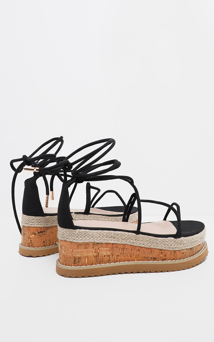 Black Lace Up Strappy Flatform Sandal 4