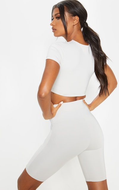 Light Grey Underbust Piping Detail Cropped Tee