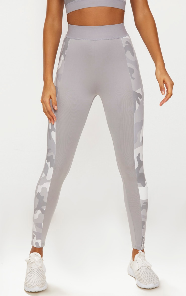 PRETTYLITTLETHING Grey Leggings with Grey Camo Contrast 2