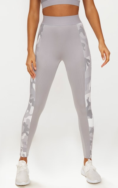 PRETTYLITTLETHING Grey Leggings with Grey Camo Contrast