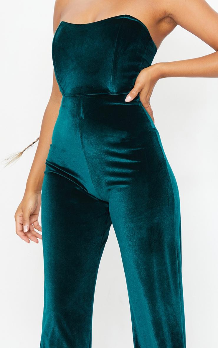 Emerald Green Boning Detail Velvet Bandeau Jumpsuit 4