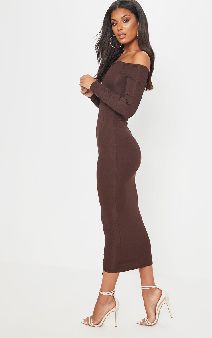 Chocolate Brown Ribbed Ruched Bardot Midi Dress 4