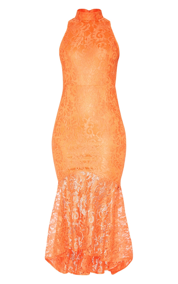 Bright Orange Lace High Neck Fishtail Midaxi Dress 3