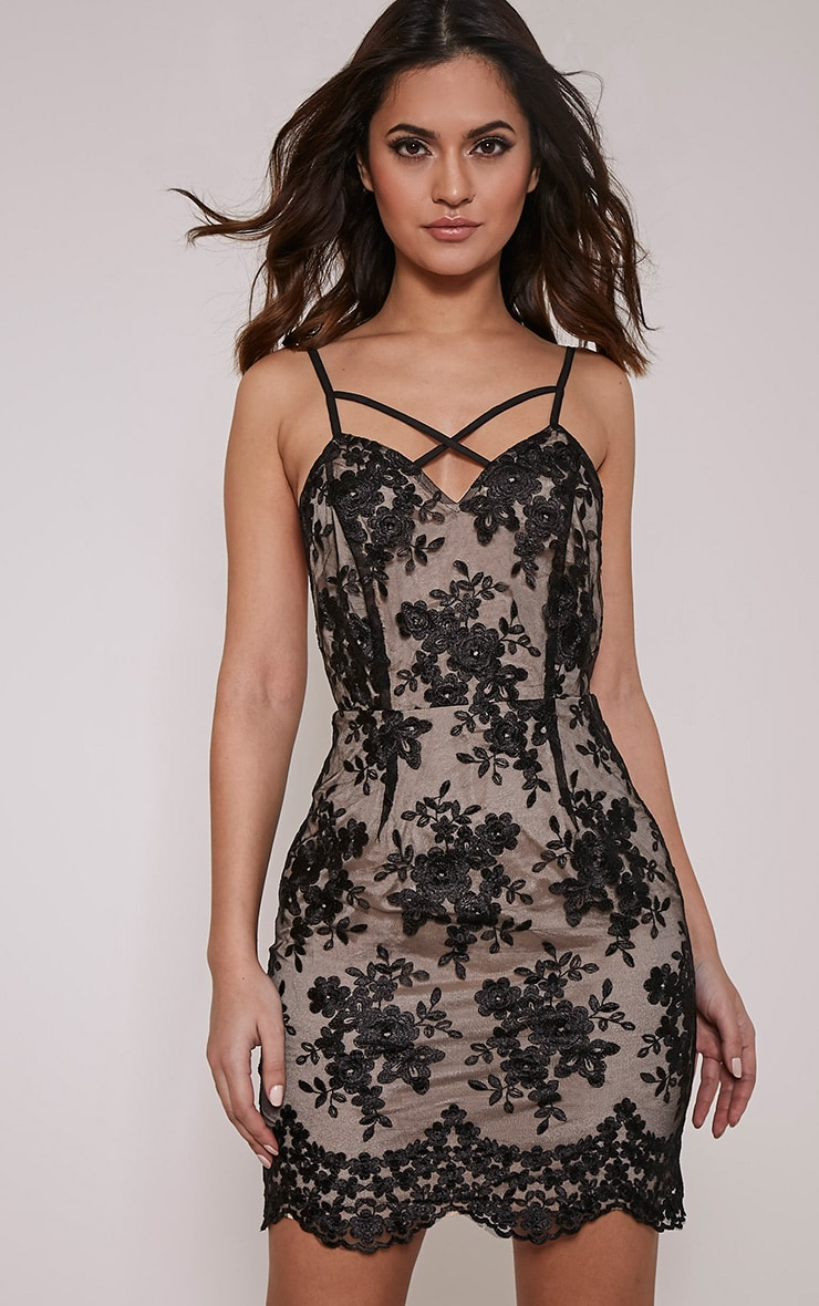 Kayia Black Floral Lace Panel Strappy Bodycon Dress 1