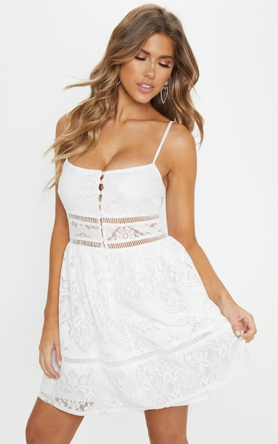 fe11869358 White Lace Button Detail Skater Dress