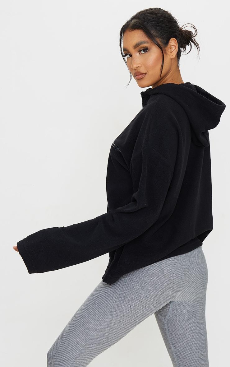 PRETTYLITTLETHING Black Half Zip Hooded Fleece 2