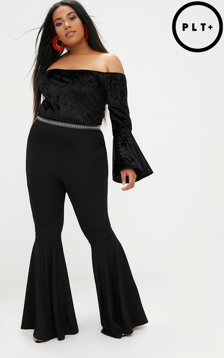 Plus Black Fit and Flare Leg Trousers 1