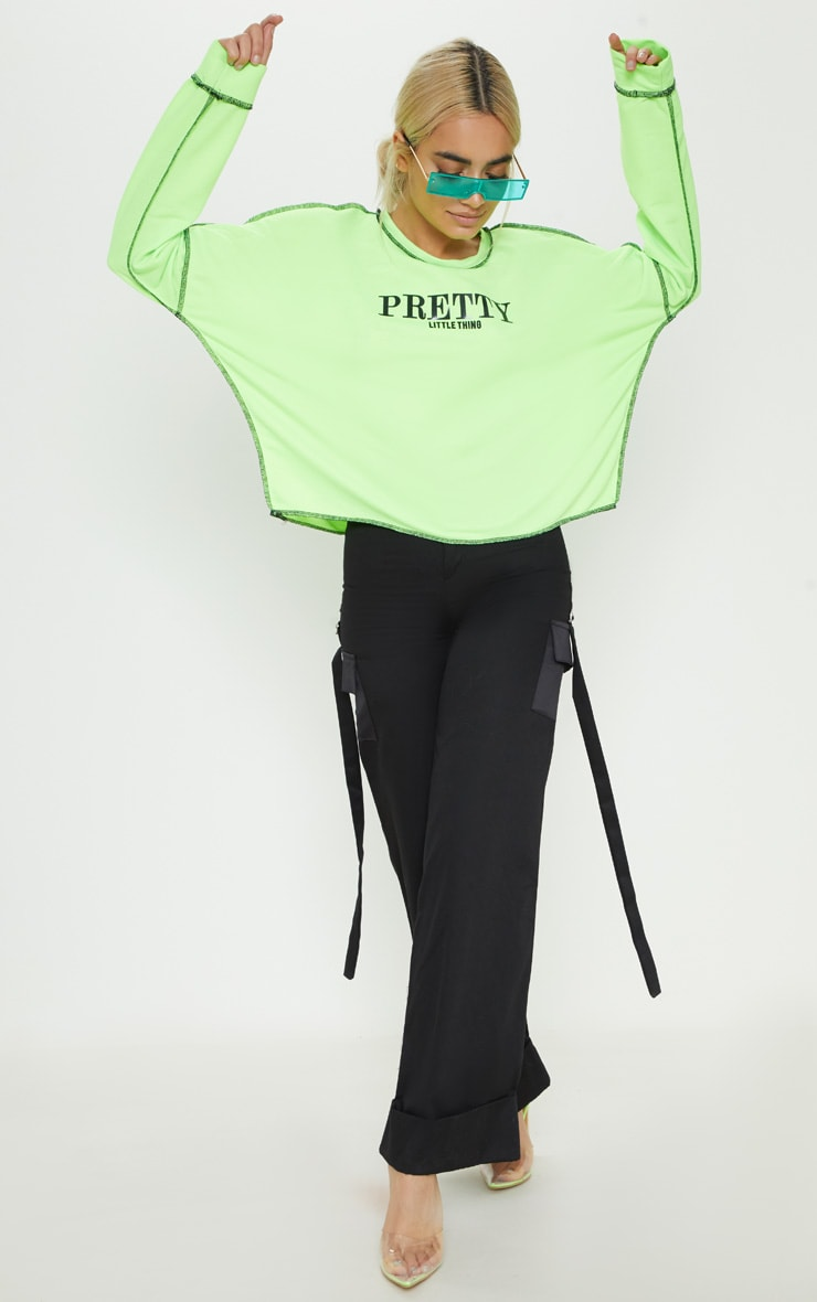PRETTYLITTLETHING Petite Neon Lime Loose Fit Slogan Top 4